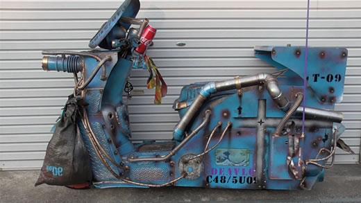 原チャリ 4スト 世紀末 スチームパンク 鉄 錆 トゥデイ 50cc 面白い 動作OK ラットスタイル 青色 Today