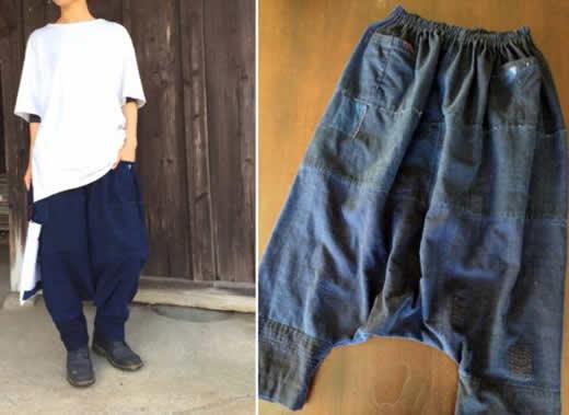 ◆古布藍染サルエルパンツ*手織り刺し子襤褸ボロ古布リメイク