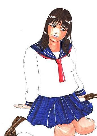 A4手描きオリジナルイラスト女子校生
