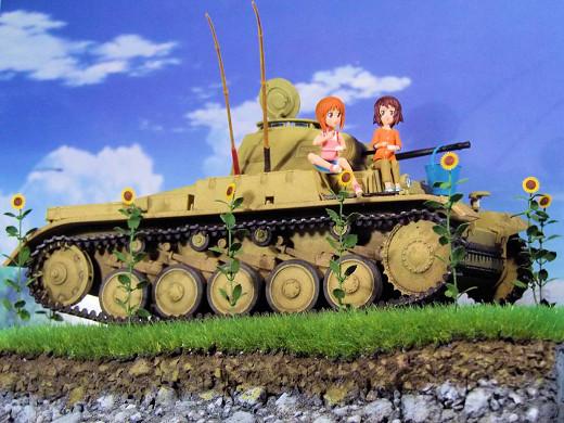 ★ガルパン最終章上映決定記念・あの夏の�号戦車F型です!みほとまほ夏の思い出< 1/35ディオラマ・完成品>