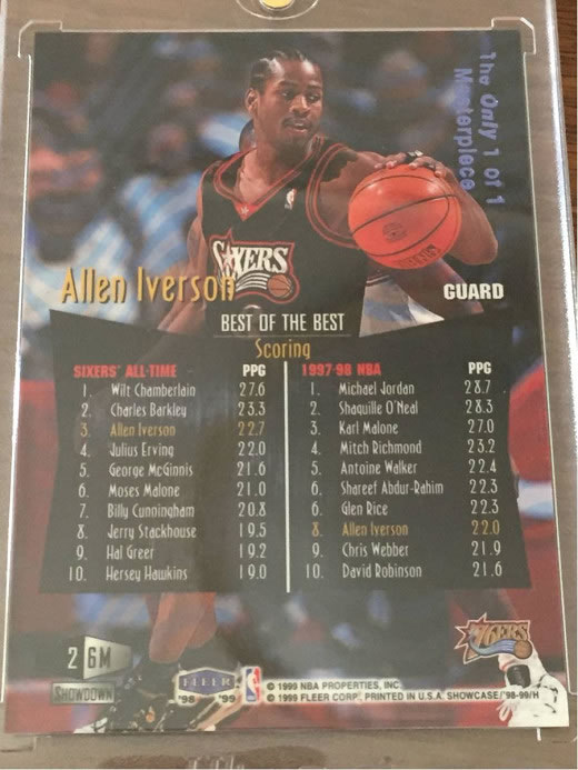 Allen Iverson 98-99 Flair showcase Legacy Row2 1of1 masterpiece 1/1 NBA カード アレン アイバーソン