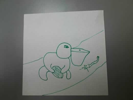 絵画「ペリカン進化論」 藁半紙 小型 人間になる為の条件とは?