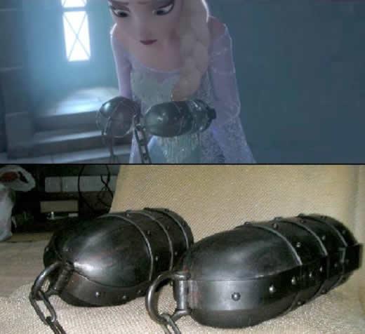 鉄製拘束具!アナと雪の女王、エルサの手枷とよく似た手枷