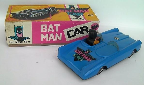 1960年代の当時物★珍品FUJIMARU TOYS/フジマルトイズ BATMAN CARバットマンカー(青色)バットモービル箱付き美品・現品限りお見逃しなく!