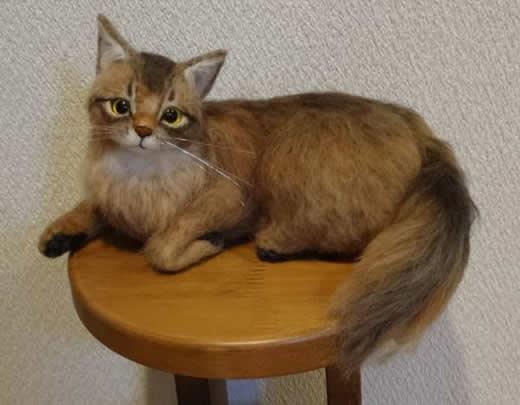 羊毛フェルト 猫 ソマリ ハンドメイド