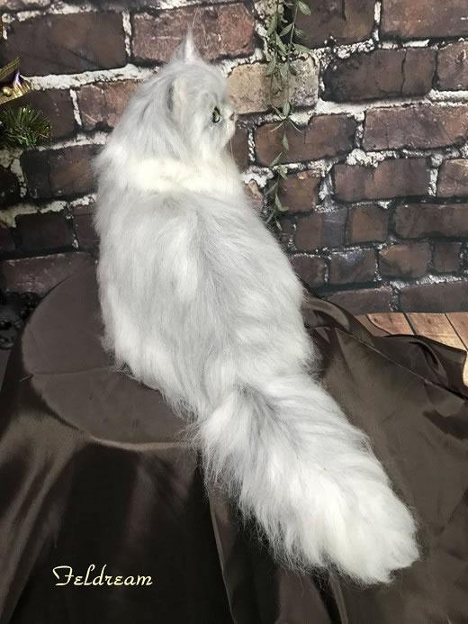 Feldream◆羊毛フェルト 見返り猫 チンチラシルバー(ペルシャ) もふもふ ハンドメイド
