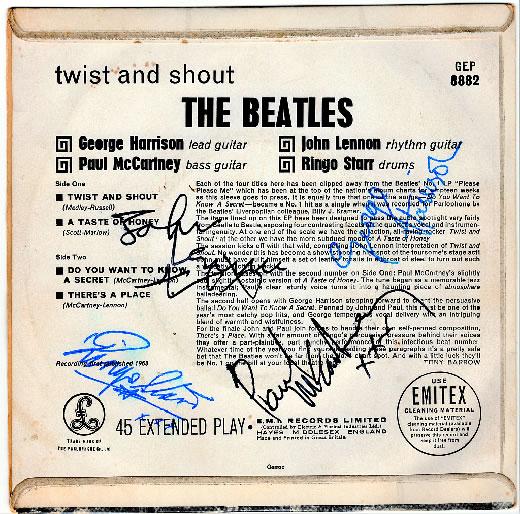 サイン(本物?)入り KT刻印あり 綺麗な盤 おすすめ ビートルズ英国オリジナルEP 1963年製 Twist& Shout 他3曲