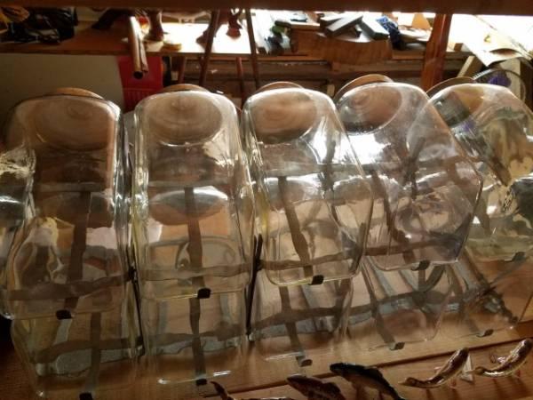 昭和レトロ 駄菓子屋ガラス瓶ケース 5個2段 駄菓子・キャンディ・ 陳列棚付希少