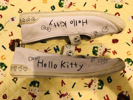 JS 小学生 女の子 上履き 上靴 スクールシューズ 22cm 中古 難あり 落書き 記名 エコ商品