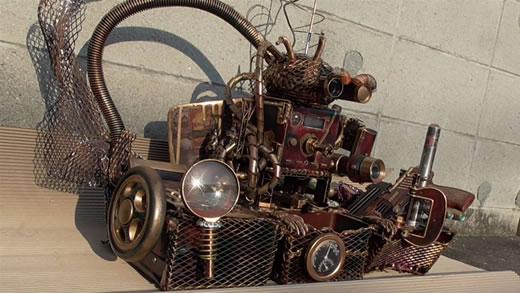 小物入れ 置物雑貨 スチームパンク 鉄 錆 アンティーク オブジェ アート 展示品 ラジオ 電卓 カフェ