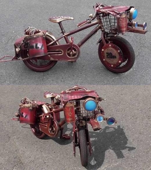 自転車 12インチ 改造品 錆 ビンテージ ダメージ ガレージ 実動 かわいい 子供用 ラット