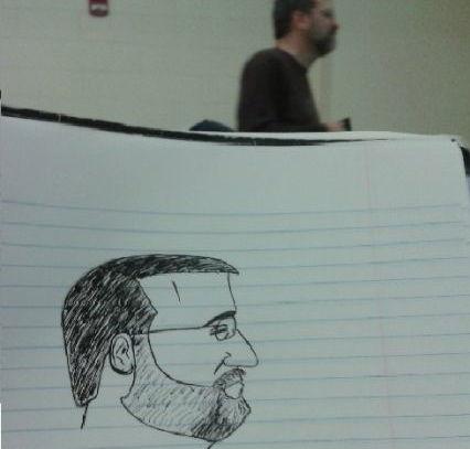 授業に退屈した学生が先生をモデルに落書きしてみた!!