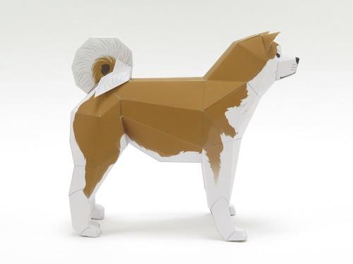 「行け、行け、アキタ」のペーパークラフト秋田犬3