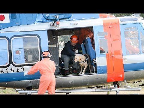 ヘリコプターで警察犬の訓練