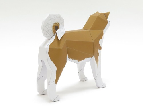 「行け、行け、アキタ」のペーパークラフト秋田犬4