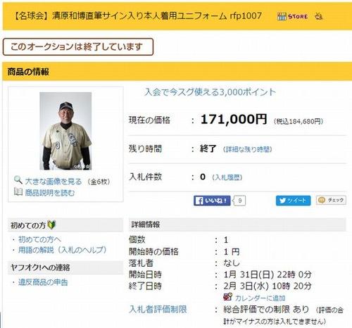 【名球会】清原和博直筆サイン入り本人着用ユニフォーム