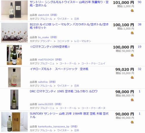 ヤフオクで「空瓶」の落札価格を検索した結果3