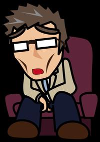 89椅子に座って溜息をつくじいさん「妖精さん」-508x720
