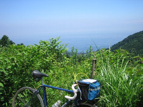 海の見える林道