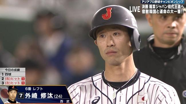 【日韓戦】侍ジャパン外崎が2打席連続タイムリー!さらに西川も続いてリードを4点に広げる!