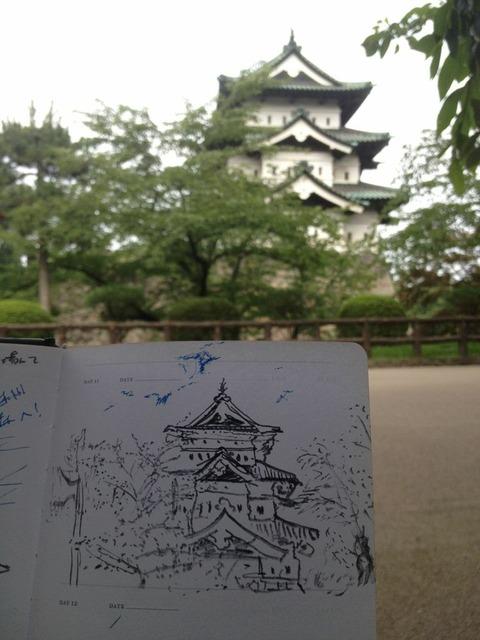 弘前城 スケッチ2