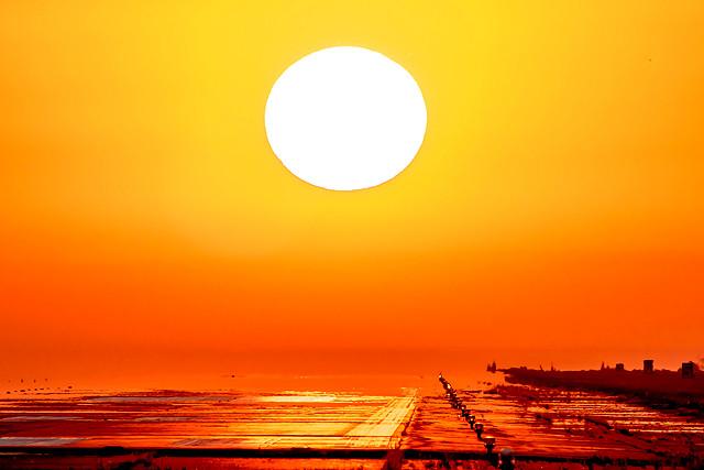 夕陽と滑走路