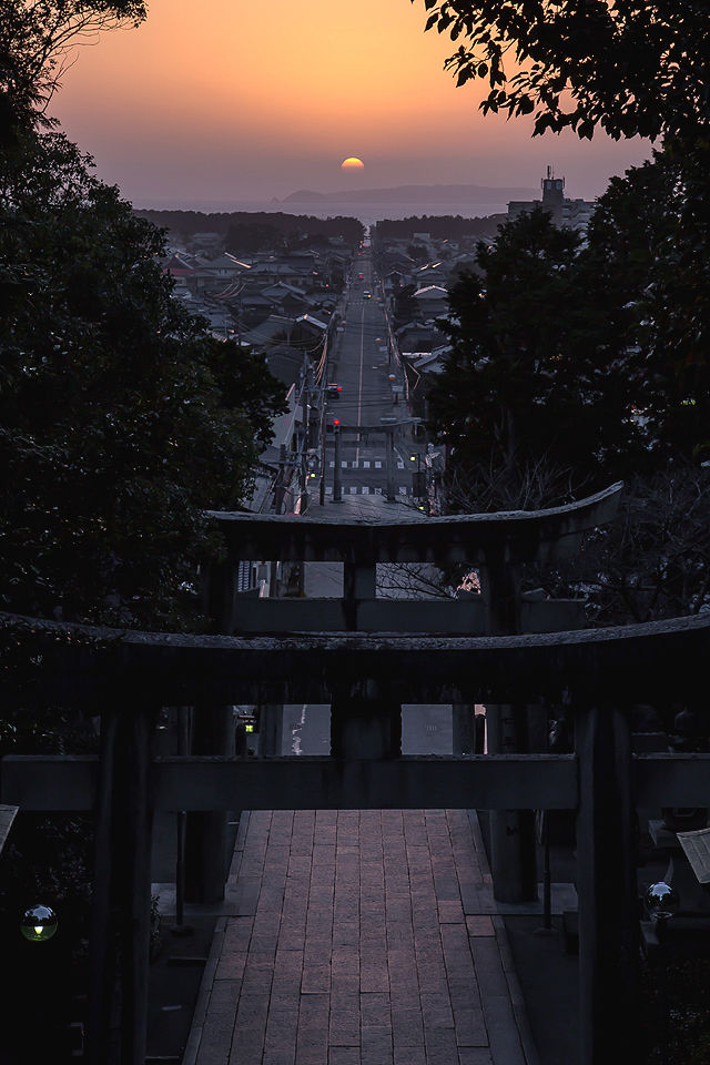 宮地嶽神社の夕景