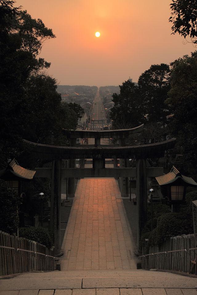 宮地嶽神社の夕陽