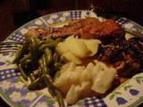 ヤギ肉と自家栽培野菜