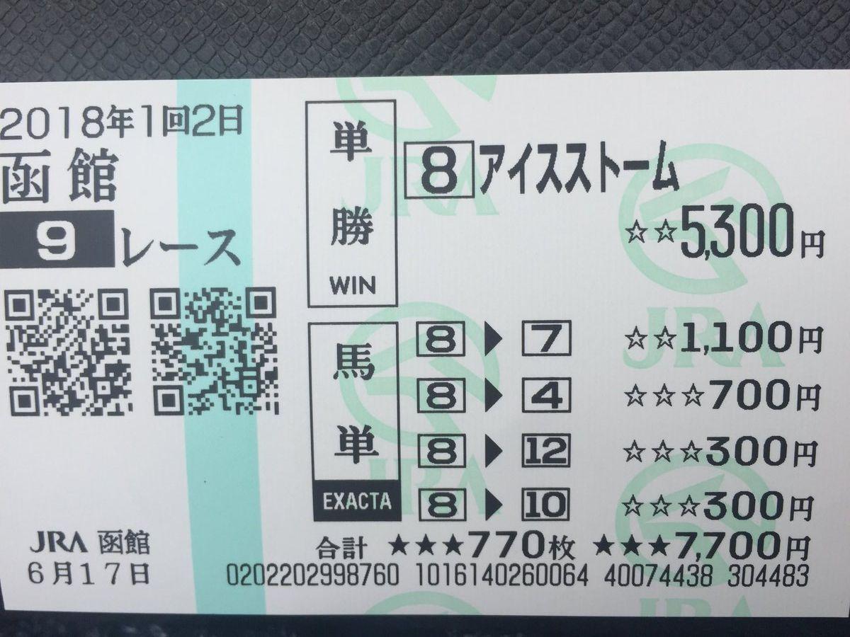 20180617函館9R現地馬券