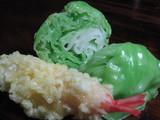 天ぷらとレタス。