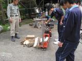 薪割り機も体験。