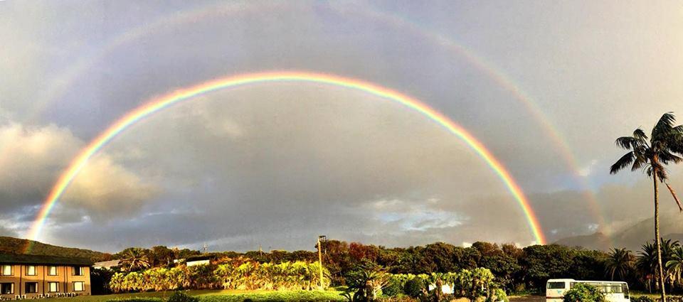 島らしい雄大な虹!!