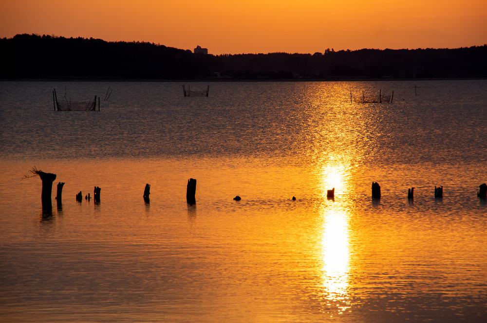 印旛沼の夕日「美しい日本の風景」