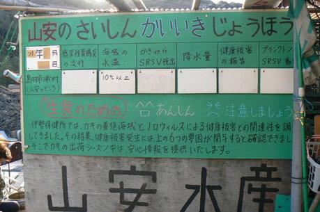 浦村牡蠣の安心安全看板