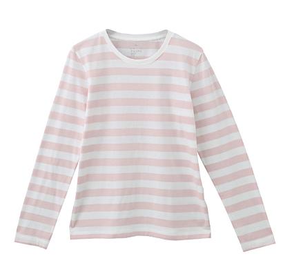 ナチュラルファッション系ブロガーさんのブログで無印のボーダーTのコーデを見て、すっかり欲しくなったTシャツ。 ネイビーか黒のボーダー にしようか迷ったんですが、