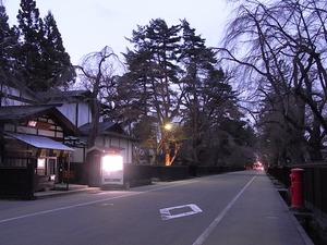 人通りも少ない夕暮れの角館武家屋敷通りと咲いていないしだれ桜1