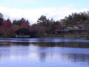 昭和記念公園の茶室風の建物と紅葉03