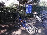 三脚を載せたレンタル自転車