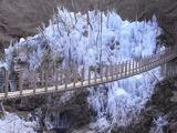 尾ノ内渓谷の吊り橋と氷柱