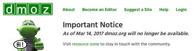 DMOZ終了のお知らせ
