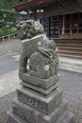 義経寺の狛犬(右後姿)