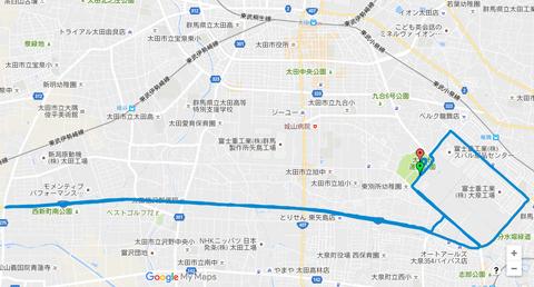 上州太田スバルマラソンコースマップ
