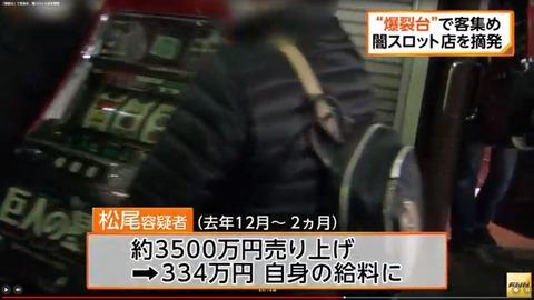違法な爆裂機を設置した「闇スロ」2カ月間で3,500万円の荒稼ぎ!なお経営者は334万円の報酬を得ていた模様