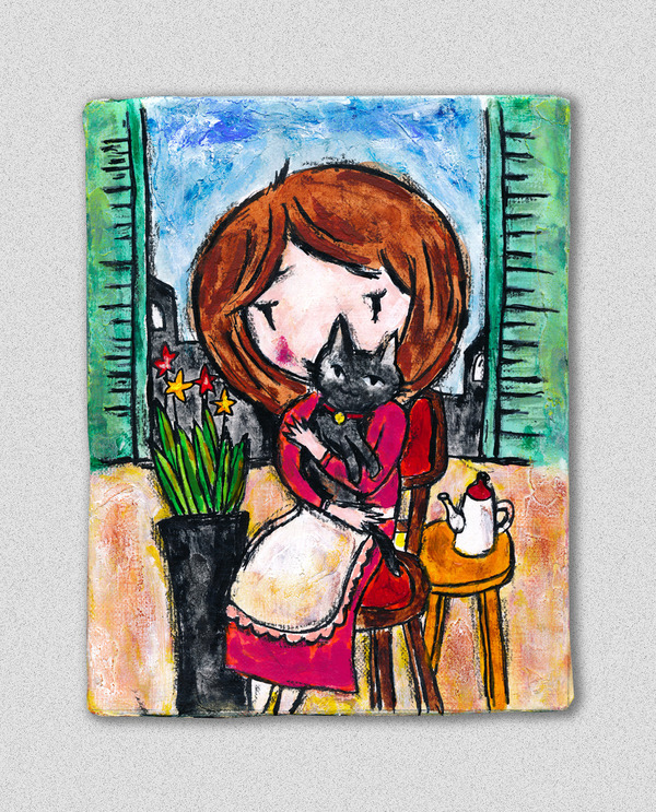 黒猫を抱いた少女