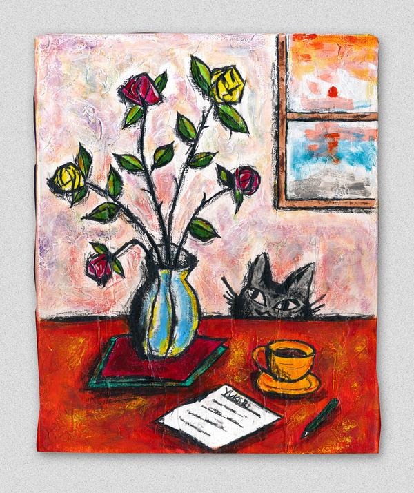薔薇と手紙と黒猫