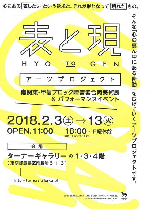 <イベント> 2/13(火)まで『表と現』アーツプロジェクト