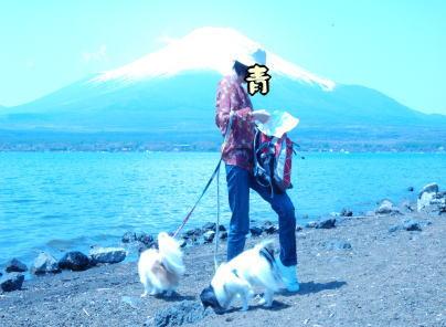 富士をバックに…