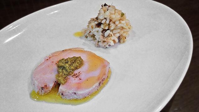成増 ランチ イタリアン unita ウニタ ディナー うに太 鶏むね肉のボイル、タラの芽ソース添え ( ランチ前菜 )