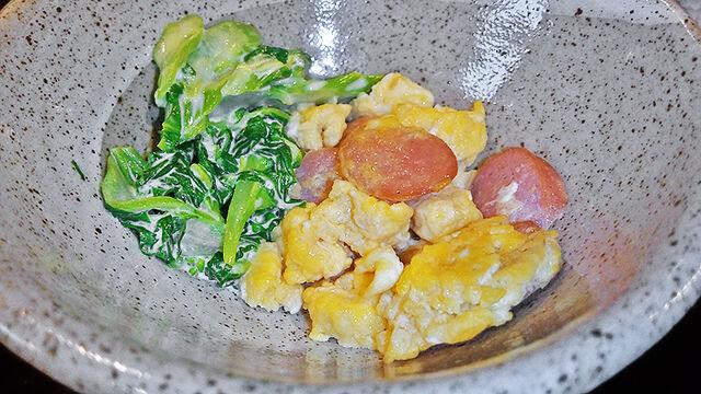 成増 ランチ だいこん 菜花の和え物 & 炒り玉子 ( 定食 )